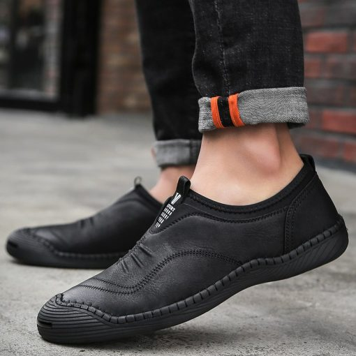 JUNJARM 2018 Spring Handmade Men Casual Shoes Brand Men Loafers Breathable Microfiber Men Flats High Quality Slip-on Men Shoes 4