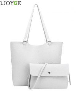 Korea Style 2ps/set Women's Casual Litchi Leather Tote Handbag Shoulder Bag Ladies Messenger Crossbody Bag Composite Bag Wallets