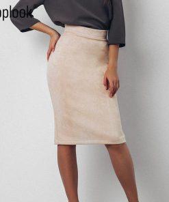 Toplook Split Vintage Suede Bodycon Skirt 2018 High Waist Women Knee Length Pencil Skirt Solid OL Office Elegant Skirts Womens