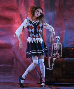 DJGRSTER 2018 Women's Bloody Student Costumes For Halloween Scary Bloody Mary Students Roleplay Student Uniforms Cosplay Costume