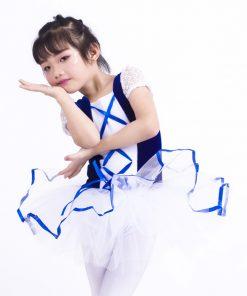 New Short Sleeve Lace Girls Ballerina Dress Child Blue Velet White Tulle Tutu Ballet Kids Party Performance Dance