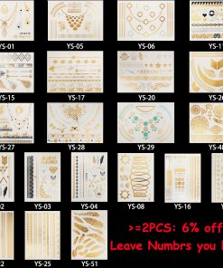 1PC Flash Metallic Waterproof Tattoo Gold Silver Women Fashion Henna YS-51 Peacock Feather Design Temporary Tattoo Stick Paster 1