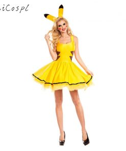 Pikachu Costume Halloween Women Fancy Dress Sexy Cute Anime Cosplay Party Wear Girls Holiday Festival Dance Clothes For Adult