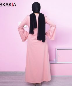Siskakia Dressing gowns for women Fashion Beading Flare sleeve design Musulman Jubah & abaya Ramadan Prayer clothing Female 2018 1