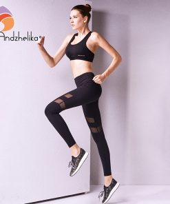 Andzhelika 2018 Sports Pants Women Yoga Pants  Legging Mesh Yoga Leggings Elastic Yoga Ladies sport leggings Workout Sport Pants 1