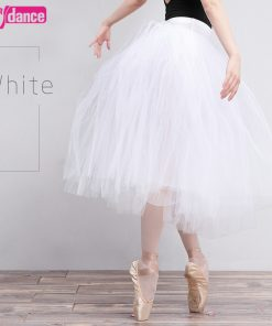 Lyrical Long Ballet Tutu Swan White Ballerina Tutu Dance Skirts For Women 1