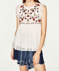 sweet floral embroidery pleated ruffled shirt cute sleeveless vintage doll blouse ladies summer casual tops blusas