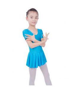 Kids Girls Gymnastics Short Sleeve Ballet Dance Outfit Leotards with Skirt Dress 1