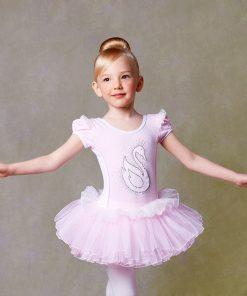 Girls Ballet Dress Dance Clothing Pink Short Sleeved Lace Swan Lake Ballet Costumes