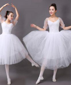 New Ballet Classic Tutu White Ballet Dress Women Lace Sleeve Long Tulle Performance Ballet Skirt Practice