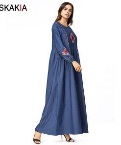 Siskakia Denim long dress Vintage Ethnic embroidery maxi dresses high waist draped design elegant A line dresses Plus size 4XL 1