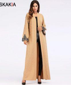 Siskakia Beading design Fashion Muslim Cardigan abaya Spring Autumn 2018 women outerwear tunic lace patchwork Ramadan clothing 1