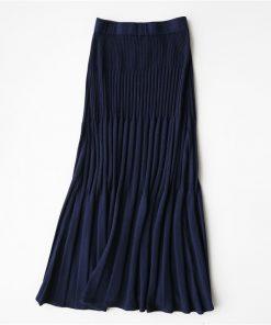 2017 Autumn Women Pleated Skirt Vintage Knitted High Waist Women Long Skirt Beige Female Warm Ladies Maxi Skirt Saia 1