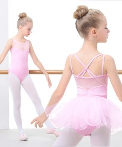 Kids Ballet Tutu Dress Black Pink Mesh Sleevess Dance Leotards & Tutu Skirt Camisole Ballet Dancewear For Girls 1