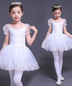 Short Sleeve Ballet Dancers Girls Swan Lake Dress White Cotton Lace Ballet Tutu Dress Sequin Kids Ballerina Party Dance Costumes