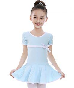 Cute Kids Summer Cotton Short sleeved Ballet Skirt Children Dance Costume Dress 1