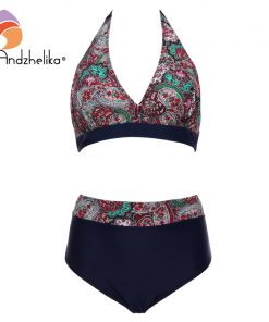 Andzhelika Plus Size Swimwear High Waist Swimsuit Deep-V Bikini New Vintage Print Floral Bikini Bathing suit female swimwear 5XL