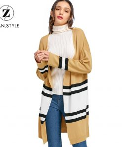ZAN.STYLE Winter Drop Shoulder Open Front Color Block Knitted Cardigan Women Full Sleeve Striped Long Knit Cardigan Tops Casual