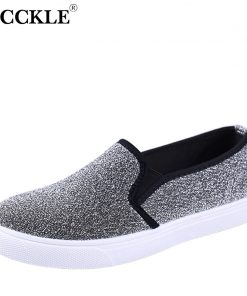 MCCKLE Slip On Flats Women Platform Glitter Footwear For Female Elastic Band Woman Flat Shoes Spring Casual Vulcanized shoes