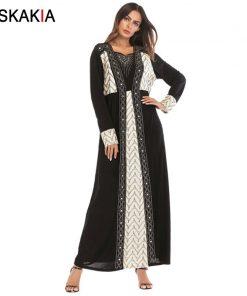 Siskakia A line long dress high waist Diamond beading contrast color design maxi dresses long sleeve muslim vintage abaya formal