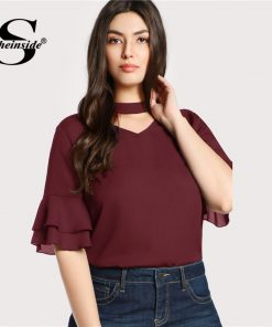Sheinside Plus Size Burgundy Choker Neck Ruffle Sleeve Casual Blouse Women V Neck Cut Out Elegant Blouses 2018 Autumn Blouse