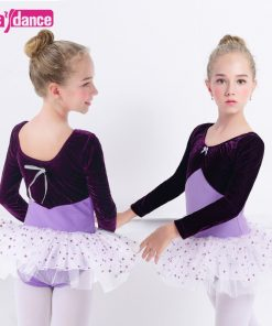 Toddler Girls Velvet Ballet Costumes Clothing Professional Dancing Dresses Ballet Leotard Dot Tutu Dress