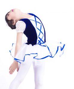 New Short Sleeve Lace Girls Ballerina Dress Child Blue Velet White Tulle Tutu Ballet Kids Party Performance Dance 1