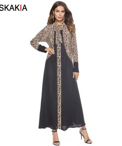 Siskakia Muslim Abaya Formal Dressing Gowns For women Fashion Leopard print patchwork design robes Female Ramadan Jubah Arab UAE
