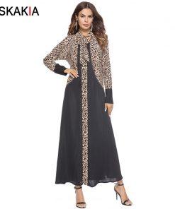 Siskakia Muslim Abaya Formal Dressing Gowns For women Fashion Leopard print patchwork design robes Female Ramadan Jubah Arab UAE