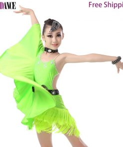 Girls Kids Bat Sleeve Latin Dance Dresses Fringed Skirts Latin Competition Costumes Children Ballroom Dancing Stage Wear