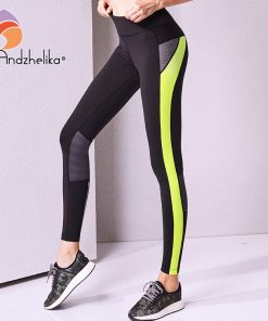 Andzhelika Women Yoga Pants High Quality Slim Running Fitness Leggings Elastic Sexy Compression Tights Breathable Sports Pants 1