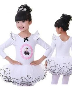 New Girls Ballet Tutu Long Sleeve Princess Dancing Dress Kids Ballet Outfit with bow knot 1