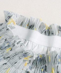 2018 Flower Print Boho Summer Women Long Skirt Stretch High Waist Women Maxi Skirt Faldas Women Pleated Skirt Midi Saias 1