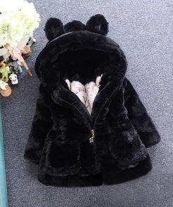 Bear Leader Girls Coats 2018 New Winter Fashion Rabbit Ears Fur Coat Hooded Full Sleeve Thickness Kids Coats For 2T-7T 1