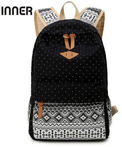 Vintage School Bags for Teenagers Girls Schoolbag Large Capacity Lady Canvas Dot Printing Backpack Rucksack Bagpack BookBag 1