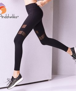 Andzhelika 2018 Sports Pants Women Yoga Pants  Legging Mesh Yoga Leggings Elastic Yoga Ladies sport leggings Workout Sport Pants