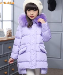 2018 Fashion Girl winter down Jackets Children Coats warm baby 100% thick duck Down Kids Outerwears for cold -30 degree jacket