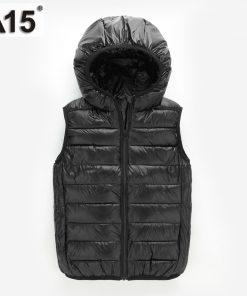 A15 Kids Vest Children Girls Vest Hooded Jacket Winter Spring Waistcoats for Boy Baby Outerwear Coats Big Teens 4 5 8 10 12 Year 1