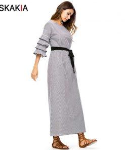 Siskakia Plaid long Dress Autumn 2018 Maxi Dresses loose large size women Dress Grey Fall Multilayer Ruffles slim sash design 1