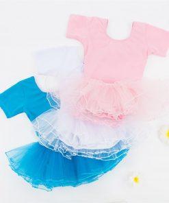 Summer Short-Sleeved Cotton Children's Ballet Leotard Dress Snap Crothed Girls Dance Uniforms