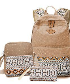 Preppy Stylish Canvas Printing Backpack Women School Bags for Teenage Girls Cute Black Set Travel Backpacks Female Bagpack 1