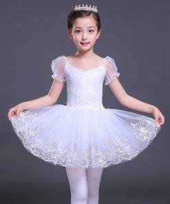 Short Sleeve Dance Dress Girls Lace Ballet Dancer Swan Lake White Cotton ballet skirt Dance Costumes Dress for a Ballerina 1