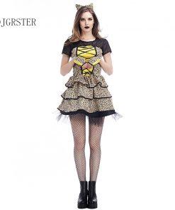 DJGRSTER 2018 Halloween Costumes Women Dress Leopard Print Fashion Halloween Costume Party Uniforms Dress+Headdress 2 Pcs/set