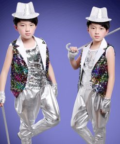 DJGRSTER New Kids Children Sequin Stage Jazz Dance Costumes Hip Hop Dance Costume Suit Girls Boys Modern Dance Costume 1