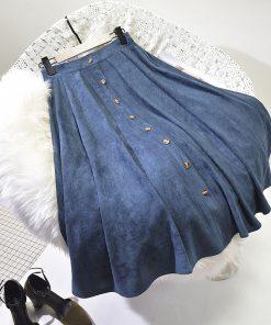 Sherhure 2018 High Quality Women Suede Skirt Long Pleated Skirts Womens Saias Midi Faldas Vintage High Waist Women Midi Skirt 1
