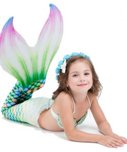 Children Mermaid Tail With Monofin For Swimming kids Cospaly Costumes girls swimsuit Dress Summer Vacation Swimmable Bikini Set  1
