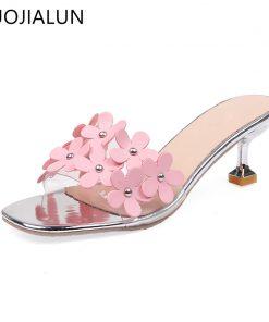 SUOJIALUN 2018 Summer New Women Slippers Sexy Thin Med Heel Ladies Sandals Slides Brand Flower Transparent PVC Slipper Flip Flop 1