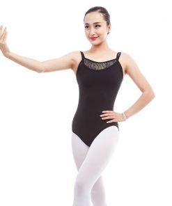Women Double Spaghetti Strap Ballet Dance Camisole Leotard Lace Neck Bodysuit Sexy Back Low Gymnastics Ballerine Leotard