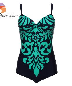 Andzhelika Plus Size Swimwear 2018 One Piece Swimsuit Newest Floral printing Bodysuit Bathing Suits Swim suits Monokini 3XL-6XL  1