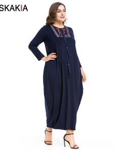 Siskakia Autumn 2018 Maxi long dress vintage Embroidery patchwork tassel drawstring design basic dresses Navy solid casual women 1